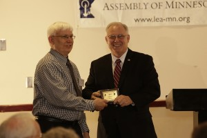 17.	LEA board member Gordon Anderson, presenting award to Sen. Dan Hall