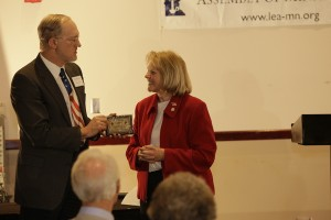 18.	LEA Treasurer Dana Burkinshaw, presenting award to Sen. Mary Kiffmeyer